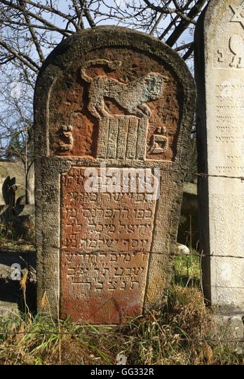 5517. Decorated tombstone from the ancient graveyard, dating 18-19th C. Gura Humorulu, Romania - Stock Image