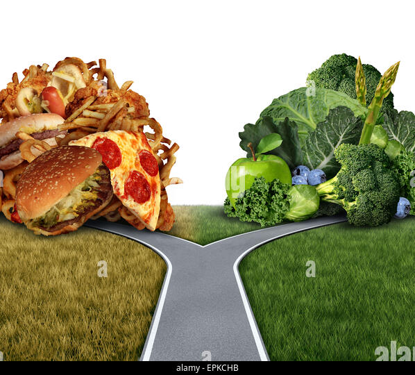 Diet dilemma decision concept and nutrition choices between healthy good fresh fruit and vegetables or greasy cholesterol - Stock Image