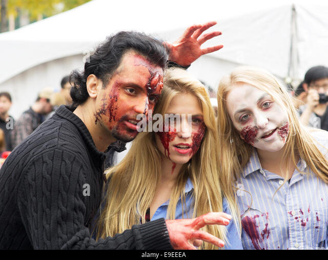 Montreal Zombie Walk. A zombie walk is a public manifestation, where participants walk around dressed as zombies - Stock Image