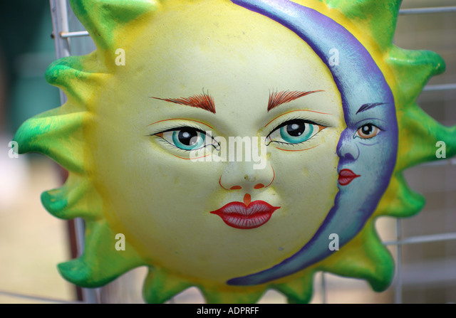 Florida, sun, crescent moon, ceramic, face, symbol, for sale, arts and crafts, opposites, - Stock Image