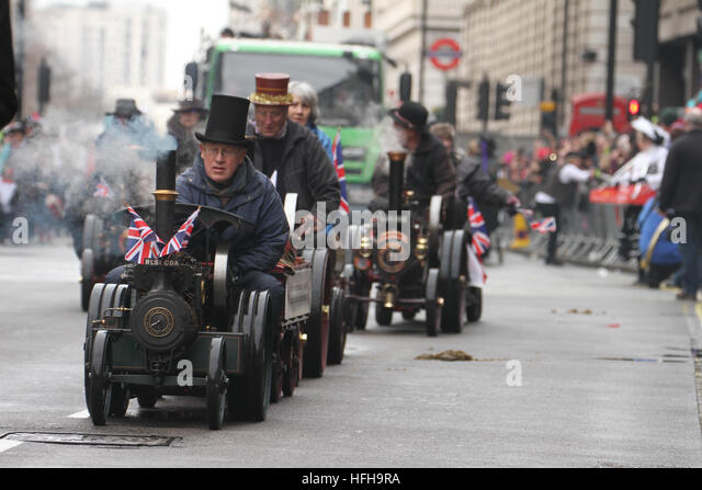 London, UK. 1st January 2017. Mini steam engine operators stears their engines along the New Year's Day Parade - Stock Image