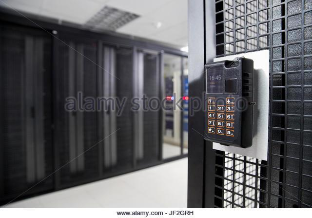 Fingerprint Scanner Pad In Secure Data Centre - Stock Image