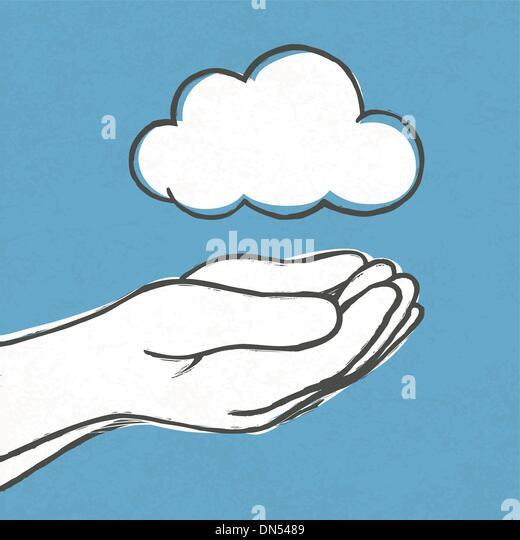 Cloud in hands. Vector, EPS10 - Stock Image