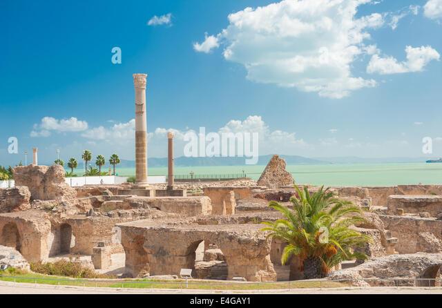 Carthage ruins of Antonine Baths at Tunisia - Stock Image