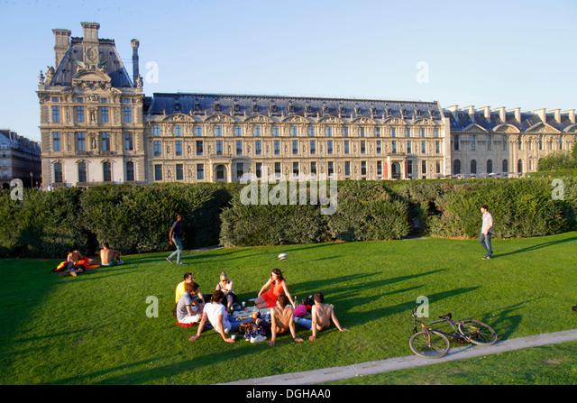 Paris France Europe French 1st arrondissement Place du Carrousel Louvre Art Museum Musee du Louvre Palace outside - Stock Image