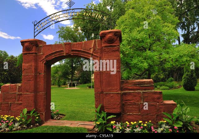 Entrance to the Lebanon peace garden at International Peace Gardens, Jordan Park in Salt Lake City, Utah - Stock Image