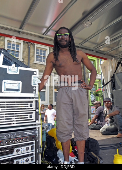Sound Guy from Huddersfield Carnival 2013 African Caribbean parade street party - Stock Image