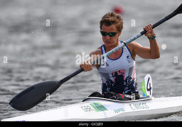Rio de Janeiro, Brazil. 15th Sep, 2016. Emma Wiggs (GBR) Canoe : Women's Canoe Sprint KL2 Final at Lagoa Stadium - Stock-Bilder