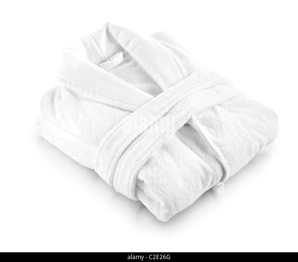 white toweling robe dressing gown - Stock Image