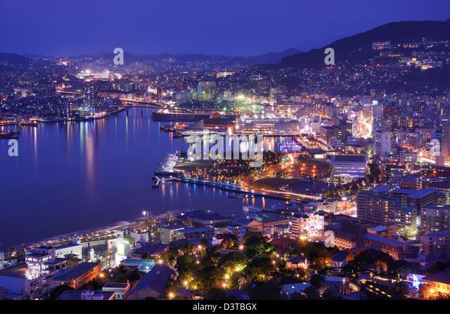 Skyline of the bay of Nagasaki, Japan. - Stock-Bilder