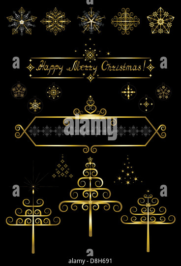 Options gold Christmas tree and snowflakes - Stock Image
