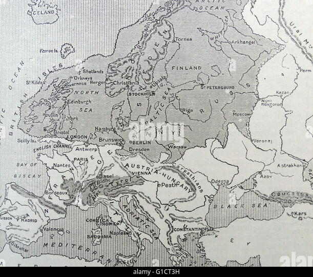 Map of Europe during the Ice Age. - Stock-Bilder