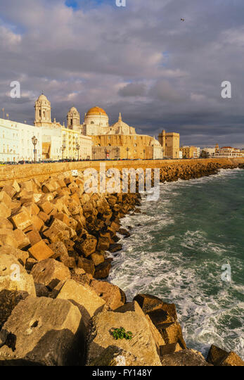 Promanade, waterfront buildings, Campo del Sur, La Mirandilla, sports center, tower, Andalucia, Spain, - Stock Image