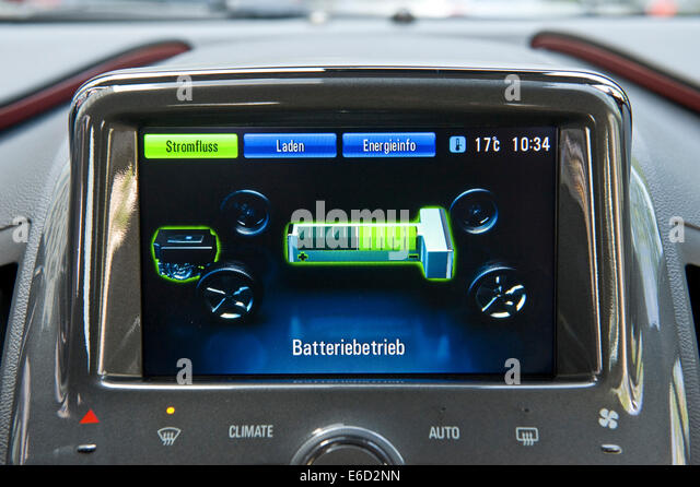 Battery mode display, electric car, Opel Ampera, Germany - Stock Image