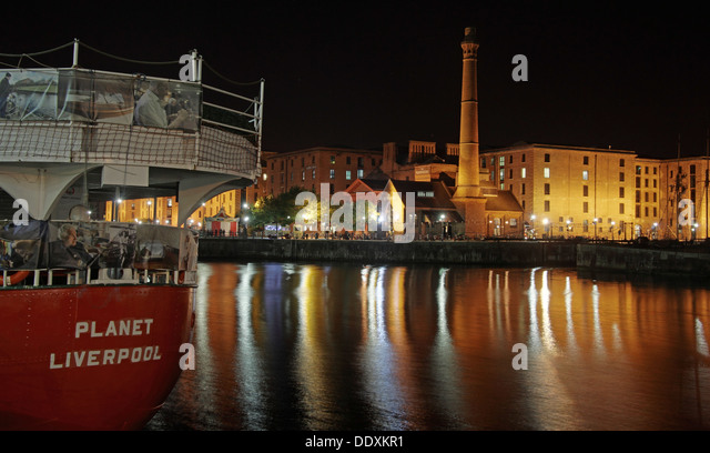 Planet Liverpool light ship Albert Dock at Nighttime liverpool Merseyside England UK - Stock Image
