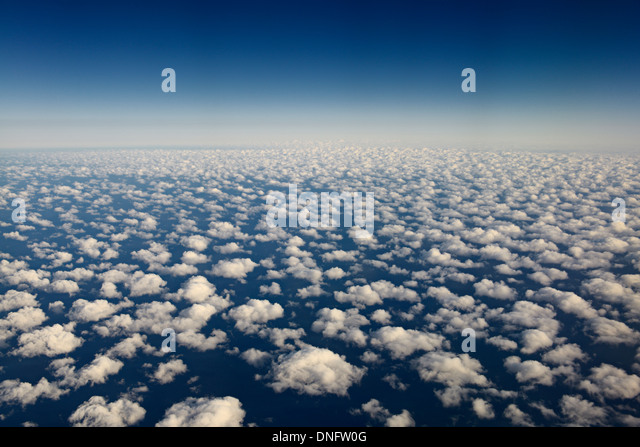 Aerial view of popcorn cumulus clouds over Lake Michigan - Stock Image