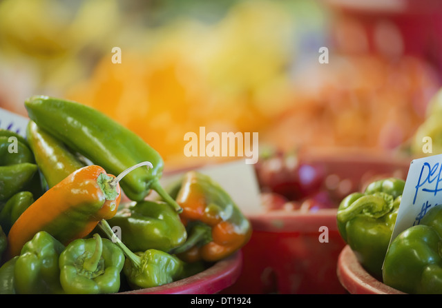 Woodstock New York USA Organic Assorted Green Peppers on display - Stock Image