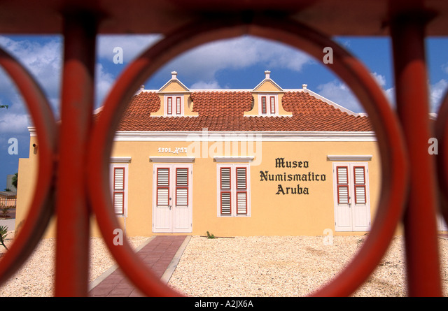 ARUBA Numismatic Museum as seen through gate - Stock Image