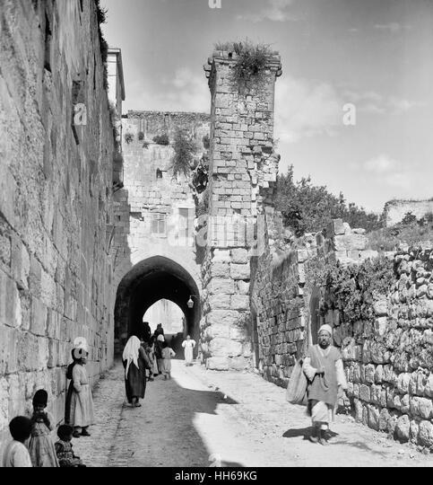 Jerusalem (El-Kouds). Tower of Antonia, circa 1920 - Stock Image