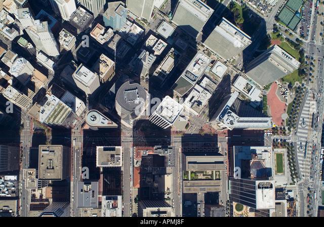 aerial San Francisco downtown financial center Market St--horizontal center & Embarcadero--right Embarcadero - Stock Image