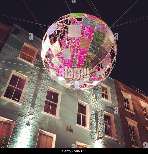 Carnaby Street London Christmas Decorations Stock Photos