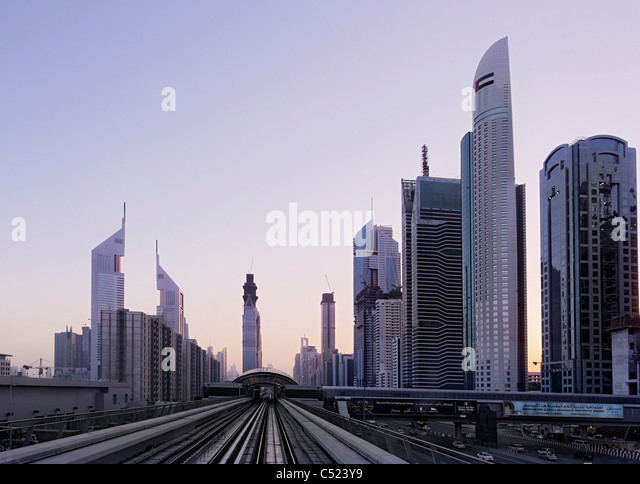 View out of the metro on Sheikh Zayed Road, sunset, downtown Dubai, Dubai, United Arab Emirates, Middle East - Stock Image