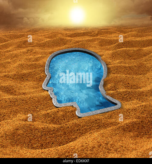 Human hope concept as a dry hot desert with a cool swimming pool oasis shaped as a human face as a concept and metaphor - Stock Image