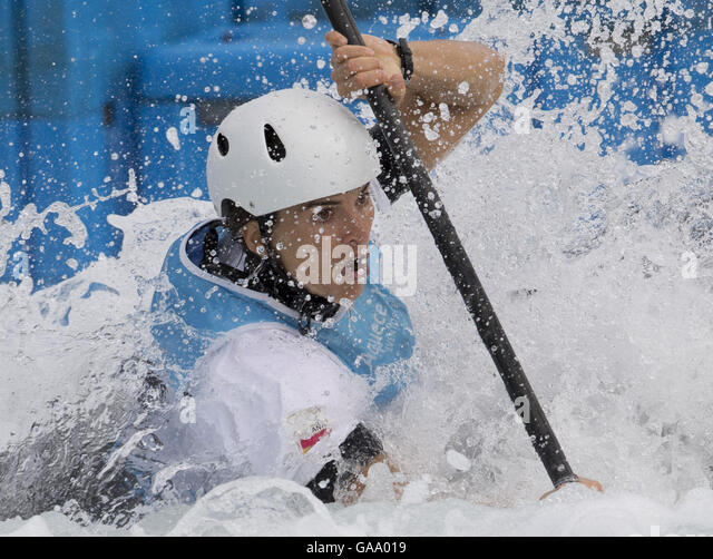 Rio De Janeiro, Brazil. 4th Aug, 2016. Maialen Chourraut of Spain practises during a training session of canoe slalom - Stock Image
