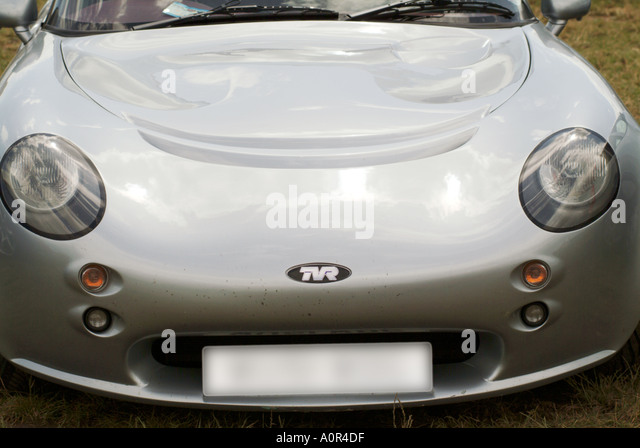 tvr sports car badge racing car race motor sport auto risk win lose fast speed power blur motion movement power - Stock Image