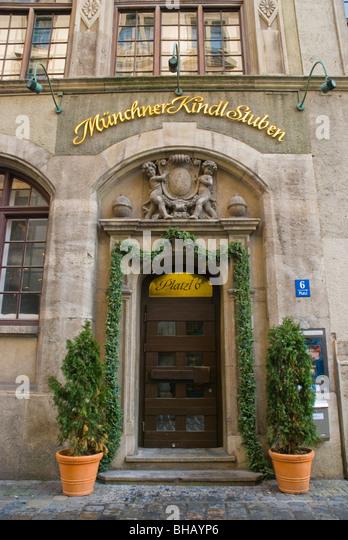 Restaurant exterior Platzl district Munich Bavaria Germany Europe - Stock-Bilder