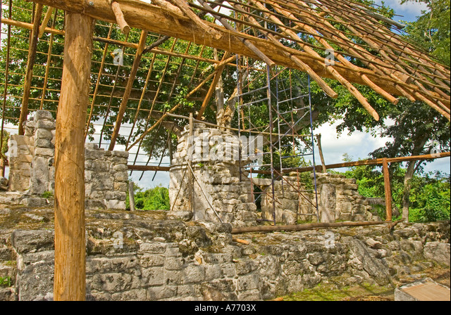 Mexico Cozumel San Gervasio Mayan ruins Murals Structure - Stock Image