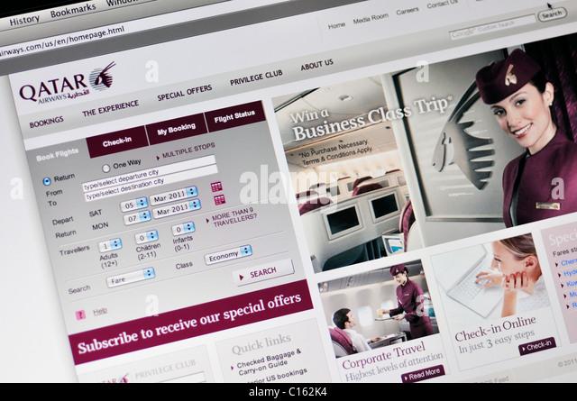 Qatar Airlines website - Stock Image