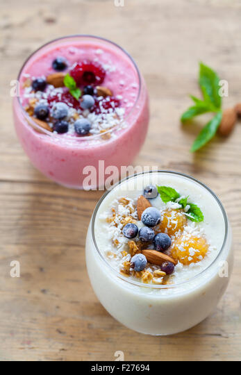 Raspberry and coconut and almond smoothie - Stock Image