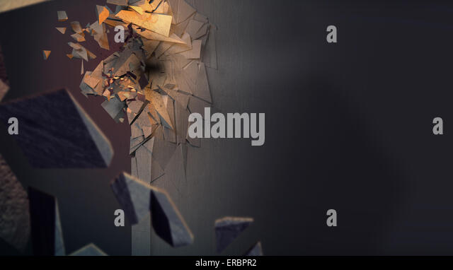 Image presenting crushed concrete wall - Stock Image