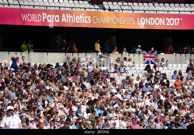 The crowd at the World Para Athletics Championships in London. Space for copy - Stock Image