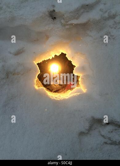 Light in the snow - Stock Image
