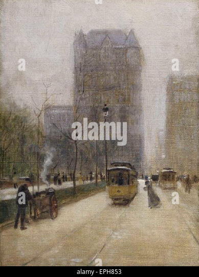 Paul Cornoyer  West 59th Street & the New Netherlands Hotel - Stock Image