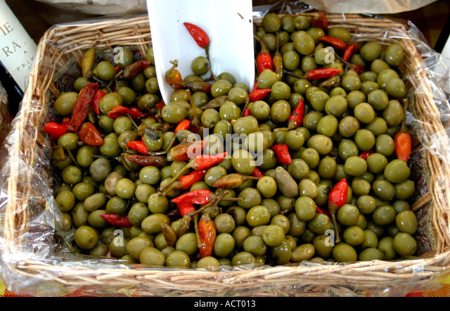 The Fresh green olives produced around Ascoli Piceno in Le Marche are famous for their flavor and succulence - Stock Image
