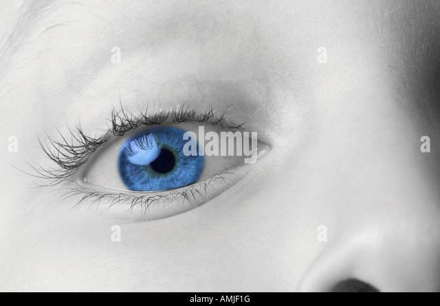 Macro shot of a child eye - Stock Image