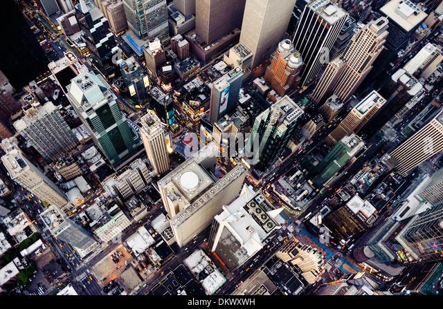 Times Square New York City,   Aerial photo , 42nd Street - Stock-Bilder