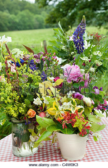 Posies of cut flowers for sale on a roadside stand - Stock Image
