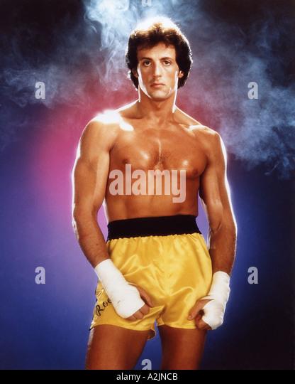 ROCKY III 1982 film starring Sylvester Stallone as Rocky Balboa - Stock Image