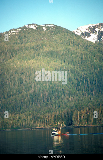 Alaska Inside Passage fishing trawler - Stock Image