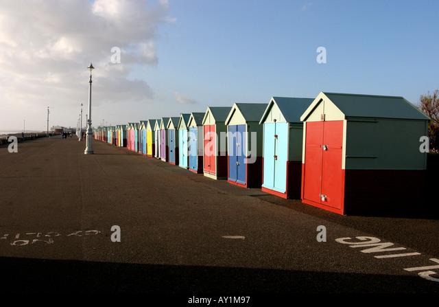 Multicoloured Brighton and Hove Beach huts - Stock Image
