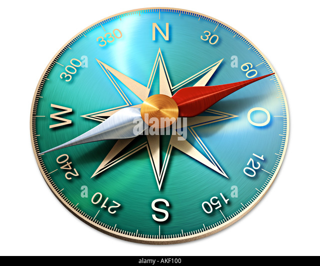 compass symbol of direction orientation showing the way to the future - Stock-Bilder