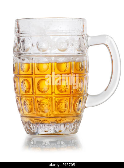 Mug of lager beer half empty isolated on white background - Stock Image