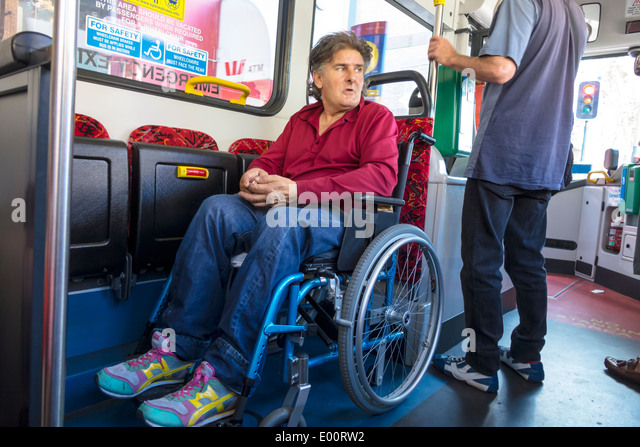 Sydney Australia NSW New South Wales Paddington Oxford Street Sydney Buses bus onboard passenger disabled wheelchair - Stock Image