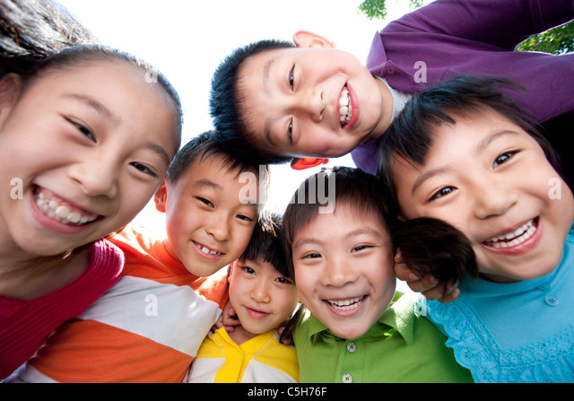 Picture of Children from Below - Stock Image
