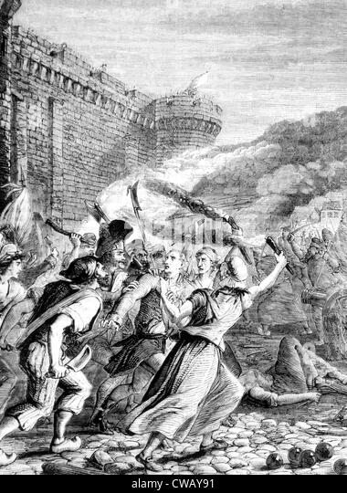 Attack upon the Bastille by the revolutionsits of Paris, 1789. - Stock Image