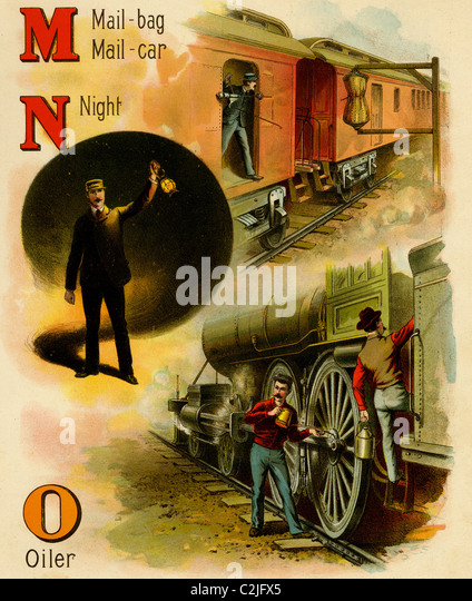 Railroad ABC- M is for Mailbag & Mail Car, N is for Night & O is for oiler - Stock Image